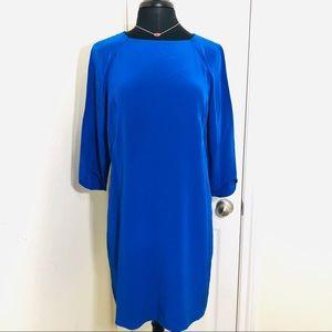 Tibi | Crew Neck Mini Shift Dress Blue Silk Sz 10